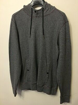 Ted Baker Mens Hoody Hooded Top Jumper Grey Striped Designer Casual Size M