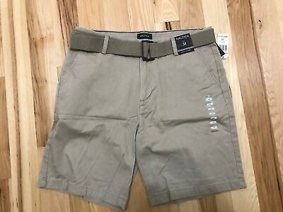 NWT NAUTICA Men's Flat Front Belted Above the Knee Khaki   32, 34, 36, 38, 40,42
