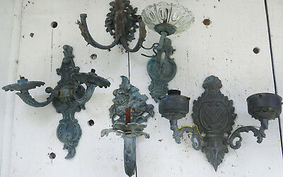 FIVE Assorted Old Vintage Antique Ornate BRONZE Shabby Salvage WALL SCONCES