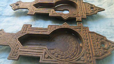 SET Old Vintage Antique CAST BRONZE Gothic ORNATE Pocket Door Pulls Handles