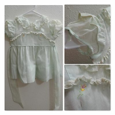 Vintage 1950s Baby DRESS~Mint Green Sheer Organza~Girls Hand Embroidery Toddler