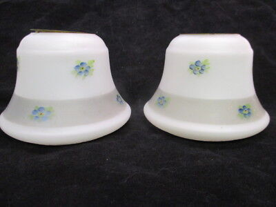 Vintage Art Deco Art Glass Lamp Light Shades White Frosted Decorated Flowers