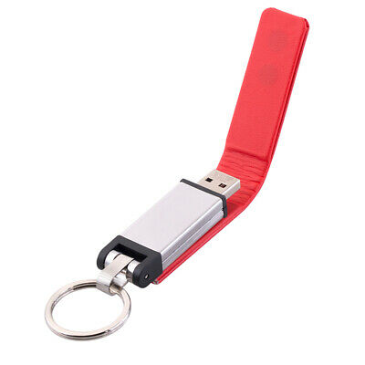 USB 2.0 Memory Drive Metal Red PU Leather USB 2.0 Flash Drive with Key Ring