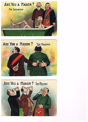 Masonic Collection Post Cards (Humorous) set of Six 1930's vintage