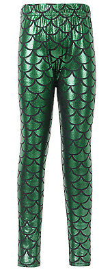 Fashion  Girls Fish Scale Print Stretch Skinny Mermaid Thin Leggings Pants