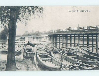 Old Postcard SMALL BOATS BY THE BRIDGE Country Of China F5003