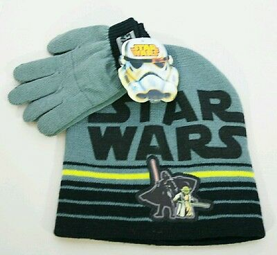 Star Wars Darth Vader Yoda Gray & Black  Hat Gloves Set Kids Gift