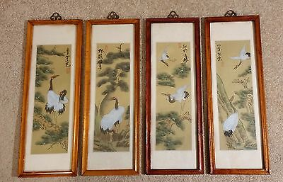 Chinese Pretty Silk Painted Portraits of Cranes -  Framed / Glass covered