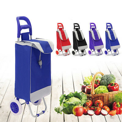 Fordable Large Shopping Trolley Bag On Wheels Push Tote Oxford Grocery Luggage
