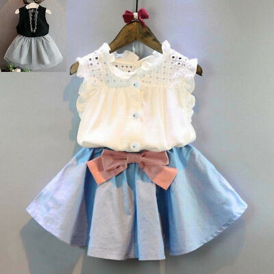 2PCS Toddler Kids Baby Girls Outfit Clothes Vest T-shirt+Bowknot Short Skirt Set