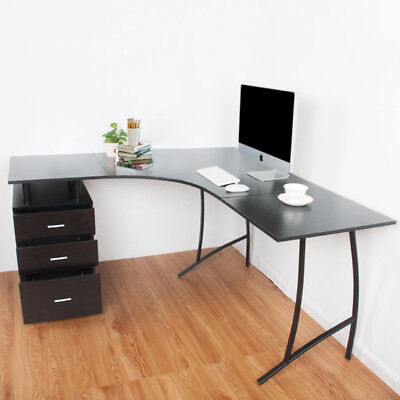 Modern Black L-Shaped Desk Corner Computer PC Office Table And Storage 3 Drawers