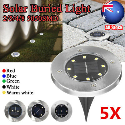 5X Solar Powered LED Buried Inground Recessed Light Outdoor Garden Deck Path