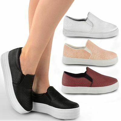 Black Skater Pumps Sneakers Casual Slip On Shoes Flatform Womens Sneakers Size