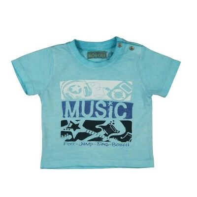 Baby T-Shirt Music Turquoise Blue for Boy from Boboli sz. 62 68 74 80 86 92