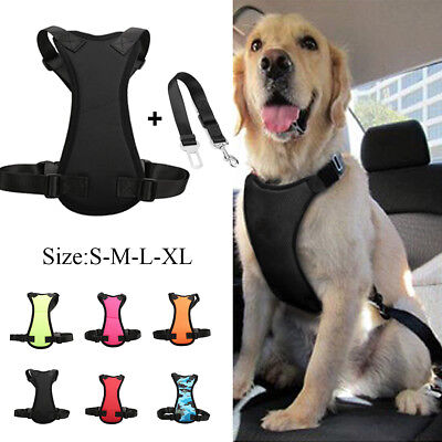 Air Mesh Pet Dog Car Harness and Seatbelt Clip Lead Leash for Dogs Travel S-XL