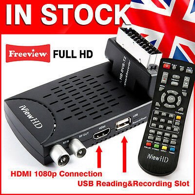 FULL HD Mini Scart Freeview Receiver & FULL HD USB Recorder TV set top box Tuner