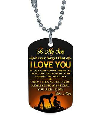 To My Son Dog Tag From Mom