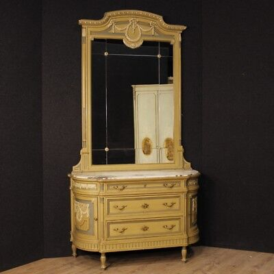 Dresser lacquered mirror furniture commode wood antique style Louis XVI 900 XX