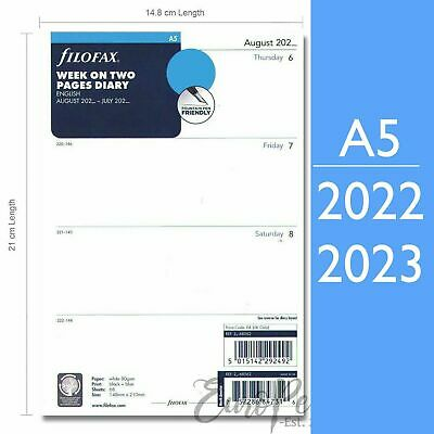 Filofax A5 ACADEMIC MID YEAR 2018 - 2019 Week On Two Pages Diary Refill 68562