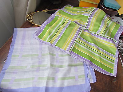 Silk Scarf Lot Geometric abstrac New Unused Long Purse Lilac Lime Church  Hijab