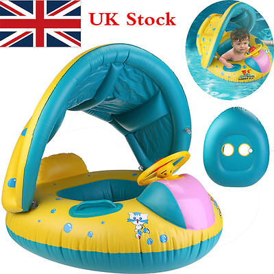 Baby Swimming Float Boat Pool Floats with Sunshade Canopy for Kids Inflatable-UK