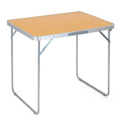 Folding Camping Table Portable Lightweight Beech Effect Picnic BBQ Carry Handle