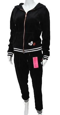 NEW BETSEY JOHNSON L Black Velour Track Suit Set LIPS LOVE Large Jacket Pants
