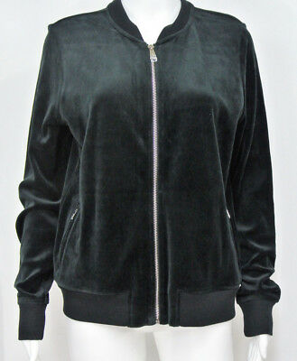 NEW RALPH LAUREN LRL Black Plush Velour Zip-front Track Jacket $115