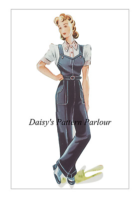 Vintage 1940 Sewing Pattern Dungarees Work Daisys Land Army The Haslam System