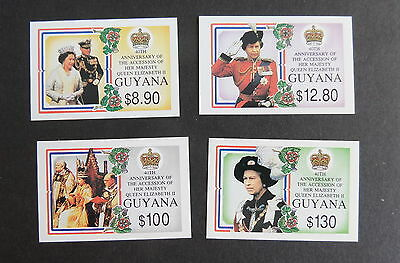 Guyana 1992 40th Ann Accession SG3294/7 IMPERF MNH UM unmounted mint