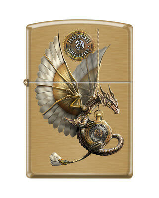 Zippo 6311, Anne Stokes-Flying Dragon, Brushed Brass Finish Lighter