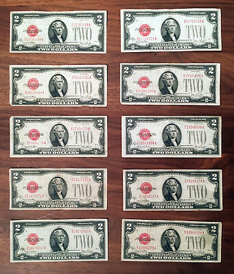 Lot of 10 Circulated 1928G $2 Two Dollar RED SEAL Notes - Collection Set