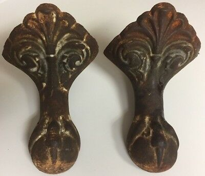 Cast Iron Claw And Ball Tub Feet,foot,lot Of Two,2,antique,vintage,large,12:24
