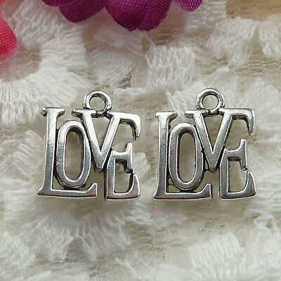 Free Ship 70 pieces Antique silver love charms 15x13mm  #042