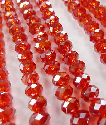 Wholesale 1000pcs AB red Abacus Faceted glass crystal loose spacers bead 8mm