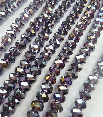 Wholesale 1000pcs AB violet Abacus Faceted glass crystal loose spacers bead 6mm