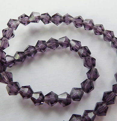 500pcs violet glass crystal Bicone loose Spacer bead 6mm