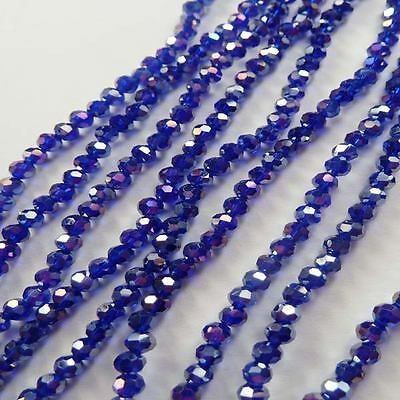 Wholesale 1000pcs AB dark blue Round Faceted glass crystal loose spacer bead 4mm