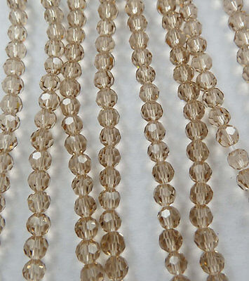 Wholesale 1000pcs champagne Round Faceted glass crystal loose spacers bead 4mm