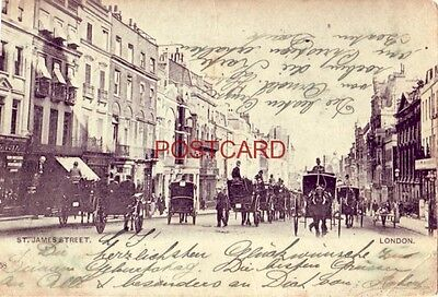 1902 ENGLAND. ST. JAMES STREET, LONDON numerous horsedrawn carriages