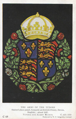 Museum Postcard - The Arms of The Tudors - Stained Glass Panel - Ref ZZ5286