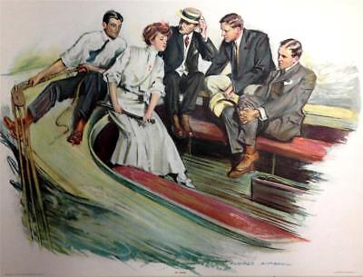 "Antique Art Print Alonzo Kimball ""Well Manned"" 1905 Victorian Woman Boat w 4 Men"
