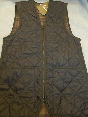 Barbour Quilted Waistcoat Zip-in Vest NWT Small $129 Brown