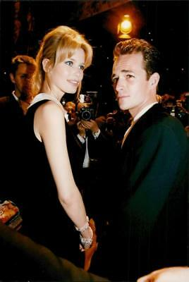 Vintage photo of Claudia Schiffer along with Luke Perry at the World Music Award