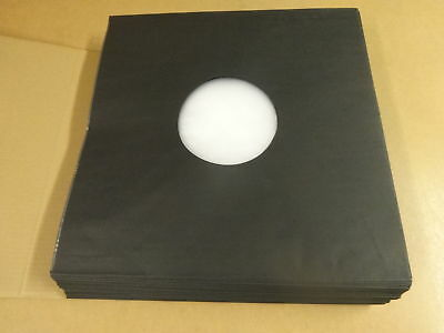 "50 Deluxe Polylined Antistatic Paper Lp Inner Sleeves Black For 12"" Records"