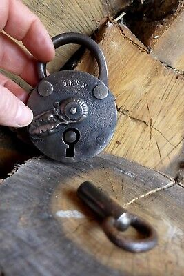 Antique Padlock with one key working order Made in Germany D.R.G.M collector