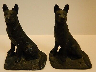 "Vintage Cast Iron German Shepherd Bookends 4.75"" x 3.5"" Very Good Condition"