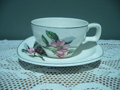Midwinter Burslem England Lovely Vintage Apple Blossom Demtasse Duo - Gc