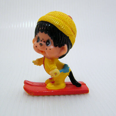 Vintage MONCHHICHI SKIER Downhill Cross Country Red Skis PVC Figure 3