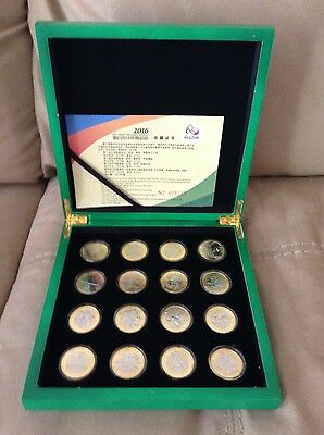 RIO 2016 Olympic coins-  Box with all 16 coins in acrylic capsules